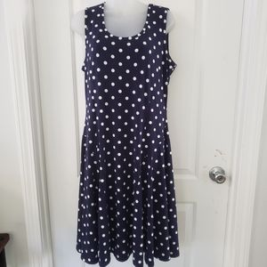 3/$25 Susan Graver slvls navy polka dot dress szM